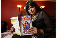 Jewel Kats holds an Archie comic featuring the disabled character Harper Lodge