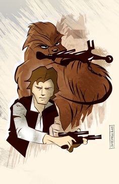 Star Wars Animated: Han Solo and Chewbacca by Jim Mehsling