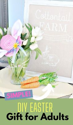 Take an old vase or jar, create a bunny face on the side with pretty Washi tape, add some simple fresh flowers. A simple quick and inexpensive DIY Easter Gift thats sure to be appreciated. Flower Crafts, Diy Flowers, Fresh Flowers, Easy Easter Crafts, Valentine Crafts, Diy Easter Decorations, Handmade Decorations, Easter Gift For Adults, Dollar Store Christmas