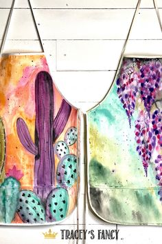 Hand Painted Aprons I am always looking for unique hostess gifts and I think these are perfect! – By Tracey's Fancy Aprons Painting Apron, Fabric Painting, Fabric Art, Diy Painting, Painting Tutorials, Fabric Crafts, Diy Crafts, Diy Projects On A Budget, Craft Projects