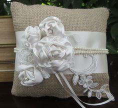 Ring Bearer Pillow - Bridal Satin, Bridal Lace, Silk, Burlap, Organza, Tulle, Beads - YOU CHOOSE COLOR. $33.00, via Etsy.