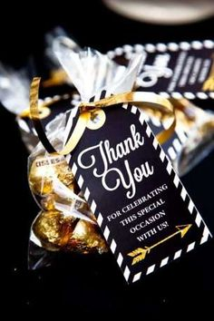 you favors at a black and gold graduation party! See more party planning ideas at !Thank you favors at a black and gold graduation party! See more party planning ideas at ! Graduation Party Favors, College Graduation Parties, Graduation Celebration, Graduation Decorations, Grad Parties, Graduation Ideas, Adult Party Favors, Sweet 16 Party Favors, Retirement Party Favors