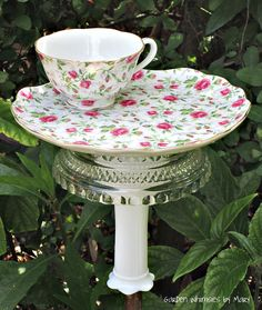 Garden Totem Stake Rose Chintz Teacup by GardenWhimsiesByMary
