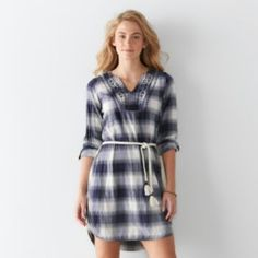 Women's SONOMA Goods for Life Embroidered Flannel Shirtdress