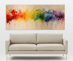 "painting, abstract painting, Acrylic painting,wall Art painting 72"" x30"",large painting FREE SHIPPING,red,blue,green"