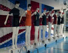 An Olympic swimming themed display at Joseph, London.