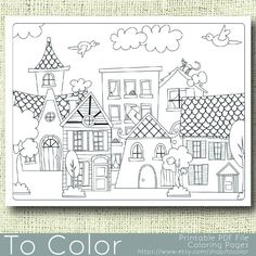 Printable Houses Coloring Page for Adults PDF / JPG by ToColor