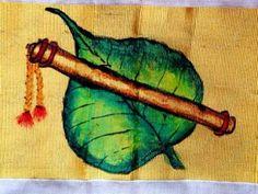 Anjali Vilasini: flute and Banyan tree leaf fabric painting