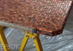 Cool DIYs Made With Pennies and Coins - Tiled Penny Desk - Penny Walls, Floors, . Furniture Making, Diy Furniture, Furniture Makeover, Painted Furniture, Penny Table Tops, Penny Wall, Office Desktop, Do It Yourself Fashion, Cool Diy Projects