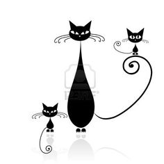 Black cat silhouette for your design                                                                                                                                                                                 Más