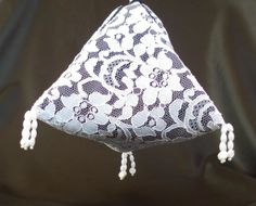 White lace over black china silk, evening  bag £25.00