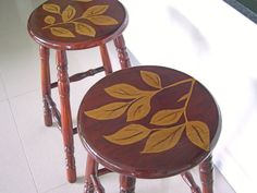 s 11 jaw dropping decorating techniques you ve never seen before, crafts, painting, painting wood furniture, Use duct tape to create staining stencils Diy On A Budget, Decorating On A Budget, Painted Furniture, Diy Furniture, Furniture Repair, Recycled Furniture, Furniture Makeover, Stool Makeover, Kitchen Stools