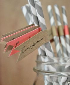 gray paper straws with coral and kraft nametags from Bab's Giddygappers on Etsy