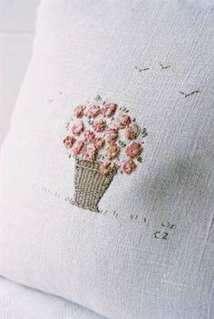 Caroline Zoob Embroidery, very pretty Silk Ribbon Embroidery, Embroidery Applique, Cross Stitch Embroidery, Embroidery Patterns, Linens And Lace, Cross Stitching, Needlework, Eye Candy, Rose Basket