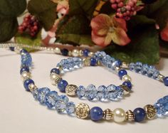 Symphony in Blue - Crystal, Sodalite & Pearl Necklace, #RomanticThoughts.etsy.com, #jewelry -SOLD-
