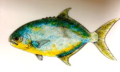 FUSED GLASS FISH. Pompano Glass Saltwater Fish by TightLineGlass