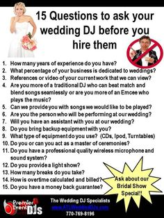 15 questions to ask your wedding DJ before you hire them from Premier Event DJs---- even though I so want a band, could be important later!