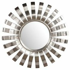"Wall mirror with a sunburst frame in silver.  Product: Wall mirrorConstruction Material: Resin and mirrored glassColor: SilverFeatures: Ready to hangDimensions: 40"" DiameterCleaning and Care: Wipe with a soft cloth"
