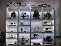 An amazing Star Wars Collection in a white Ikea Besta unit