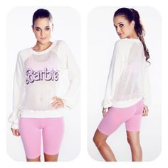 Wildfox Couture Barbie Warm Up Sweater Material: Body: 100% Cotton  Sleeves: 76% Cotton, 24% Polyester  Description: Let's warm up. This workout sweater features a cotton, mesh body with contrast terry sleeves finished by a heather rib hems. Lightweight, loop back knit  Semi-sheer mesh front and back  Crew neckline Wildfox Tops Sweatshirts & Hoodies