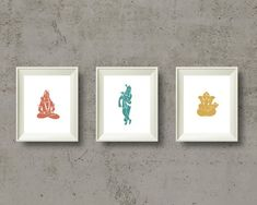 Shiva, Krishna and Ganesha Yoga Poster Set, Meditation Print, Yoga Gift, Yoga Art, Chakra Art, Spiritual Wall Decor, Hindu Gods, Printable Krishna, Shiva, Yoga Art, Printable Art, Printables, Meditation, Chakra Art, Yoga Gifts, Party Signs