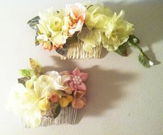 Vintage Silk Floral Hair Combs
