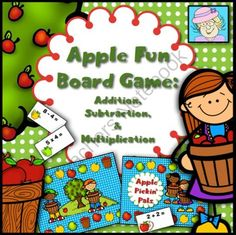 Apple Fun Math Board Game: Addition, Subtraction, and Multiplication from TeacherTam on TeachersNotebook.com -  (19 pages)  - This apple-themed board game is a fun way to practice basic math facts!  It covers addition, subtraction, and multiplication.  It even comes with EDITABLE cards!  $3