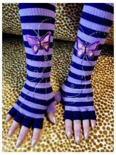 Biker Gloves, Striped Gloves, Emo Princess, Rocker Look, Texting Gloves, Neon Purple, Wide Stripes, Purple Butterfly, Aesthetic Clothes