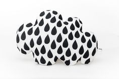 Cloud Cushion - This super cute cloud shaped cushion has raindrop detail screen printed in black onto the white linen fabric. It is filled with soft toy stuffing to make it extra cosy!
