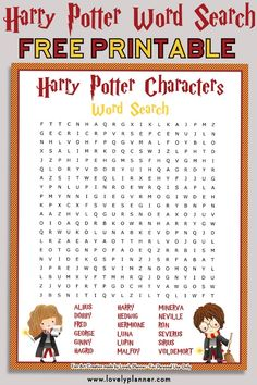 Free Printable Harry Potter Characters Word Search Puzzle, DIY and Crafts, Free printable Harry Potter Characters word search puzzle + solution sheet. Use it as a Harry Potter party activity, party favor or for your own enjoy. Harry Potter Word Search, Hery Potter, Harry Potter Motto Party, Images Harry Potter, Harry Potter Fiesta, Harry Potter Party Games, Harry Potter Thema, Cumpleaños Harry Potter, Harry Potter Classroom