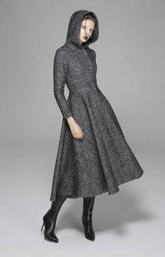 maxi coat gray coat dress coat womens coats wool coat winter coat hooded coat long coat custom made clothing mod clothing by xiaolizi Maxi Coat, Coat Dress, The Dress, Custom Made Clothing, Mod Clothing, Mode Mantel, Langer Mantel, Long Wool Coat, Swing Coats