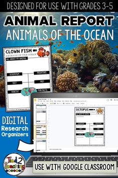Use Ocean Animal organizers to help gather, organize, and record information and key details about your ocean animal for your project or report! These digital organizers are the perfect tool to help your students organize their research for their animal project or report. Each digital Ocean animal research organizer helps students organize a variety of information about their animal including the animal's ecosystem, habitat, any predators, prey (if a carnivore), diet, fun facts and more.