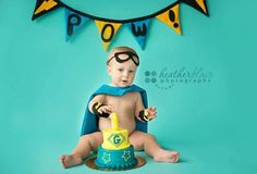 Pow Cake Smash Superhero boys cape and mask.