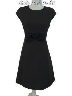 dd1128db063 NWT  398 KATE SPADE Black Stretch Crepe Bow Front A-Line Dress Size 2 (