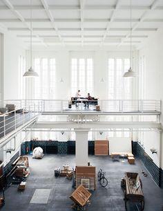 Danish Norwegian artist-duo Elmgreen & Dragset's studio in Berlin Berlin, Warehouse Design, Sweet Home, Loft Spaces, Open Spaces, Office Interiors, Boutique, Art And Architecture, Decoration
