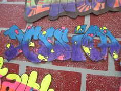 """Students used """"the graffiti creator"""" on my website, HERE , to get inspiration for their graffiti images. Students then free-handed the graffiti lettering and added gradients and designs to their..."""