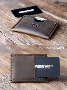 This minimalist wallet is handmade from distressed leather. Its super small and slim, easily fitting into your front pocket.   It also comes with the added bonus of personalization, where JooJoobs will brand your name or initials into the leather, which looks really cool.