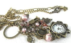 Romantic Vintage Looking Watch Charm Necklace. Pink and Bronze Feminine Timepiece Charm Necklace for Her. on Etsy, $22.00