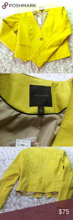 The Limited | Faux Leather Blazer Chic Citron Faux Leather Jacket The Limited Jackets & Coats