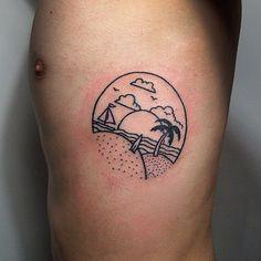 Handpoked beach tattoo by Andrew Novitskiy #sticknpoke #machinefree
