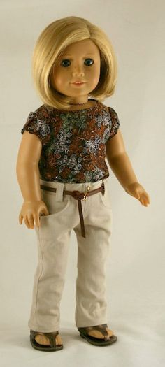 American Girl Doll Clothes - Detailed Khaki Jeans, Puffed-Sleeve Shell, and Leather Belt.