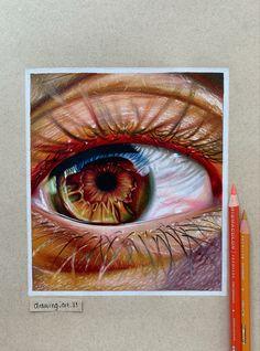 Art Drawings Beautiful, Art Drawings Sketches Simple, Pencil Art Drawings, Colorful Drawings, Drawing Art, Realistic Eye Drawing, Hyper Realistic Paintings, Colored Pencil Artwork, Color Pencil Art