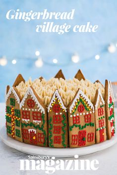 Our gingerbread village cake brings a touch of Scandi elegance to your festive party Gingerbread Village, Gingerbread Cake, Gingerbread Recipes, Christmas Goodies, Christmas Desserts, Christmas Cakes, Christmas Cake Decorations, Christmas Wrapping, Italian Christmas Bread