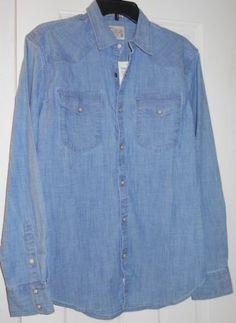 eee73da0d65 New  79 mens lucky brand denim blue chambray snap down western shirt~s~40