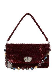 Embellished Chain Medium Suede Shoulder Bag by Miu Miu at Gilt