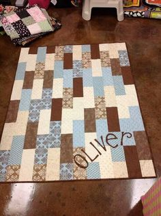 Easy Quilt Baby Boy Quilt Patterns, Baby Quilts For Boys, Girls Quilts, Strip Quilts, Lap Quilts, Small Quilts, Jellyroll Quilts, Baby Sewing, Quilting Designs
