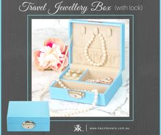 Travel Jewellery Box (with lock) | Compact, stylish and purposeful. Store and protect your necklaces, rings, earrings, cufflinks, watches, bracelets in more. Perfect for holidays, weekend getaways or for a special friend. Available in Blue (displayed), Mauve, Black or Soft Pink.
