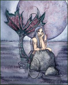 Amy Brown Print Mermaid Still Waters Purple Black Moon Ocean 8 Art Retired Unicorns And Mermaids, Mermaids And Mermen, Mermaid Costume Makeup, Fairy Sketch, Amy Brown Fairies, Mermaid Tattoos, Merfolk, Mermaid Art, Fairy Art