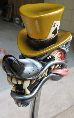 HouseOspeed - Hot Rod Shift Knob - Van Chase Wolf in Top Hat Shift Knob, $76.00 (http://www.hotrodshiftknob.com/van-chase-wolf-in-top-hat-shift-knob/)