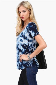 Navy Blue Tye Dye Tee - picture only